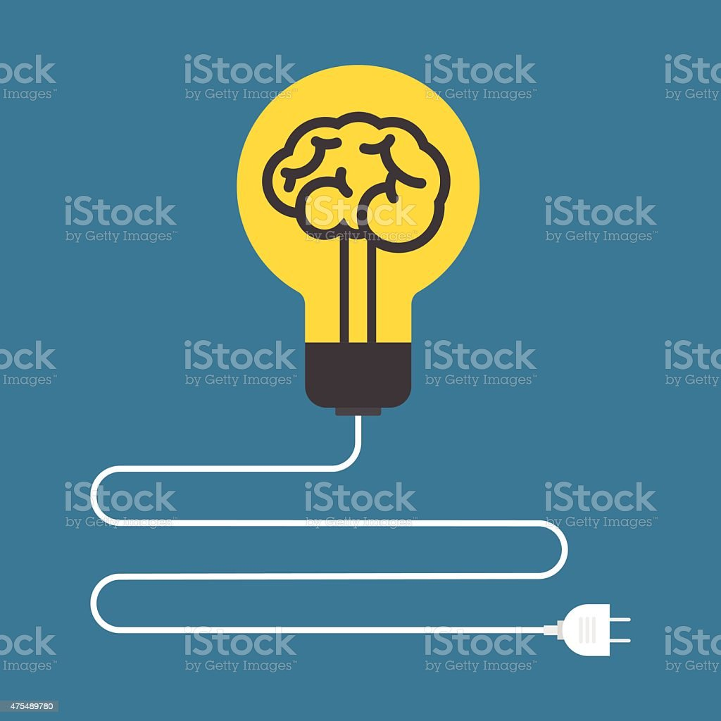 Circuit Concept Of Brain Light Bulb Flat Design Stock Vector Art With Battery And Royalty Free