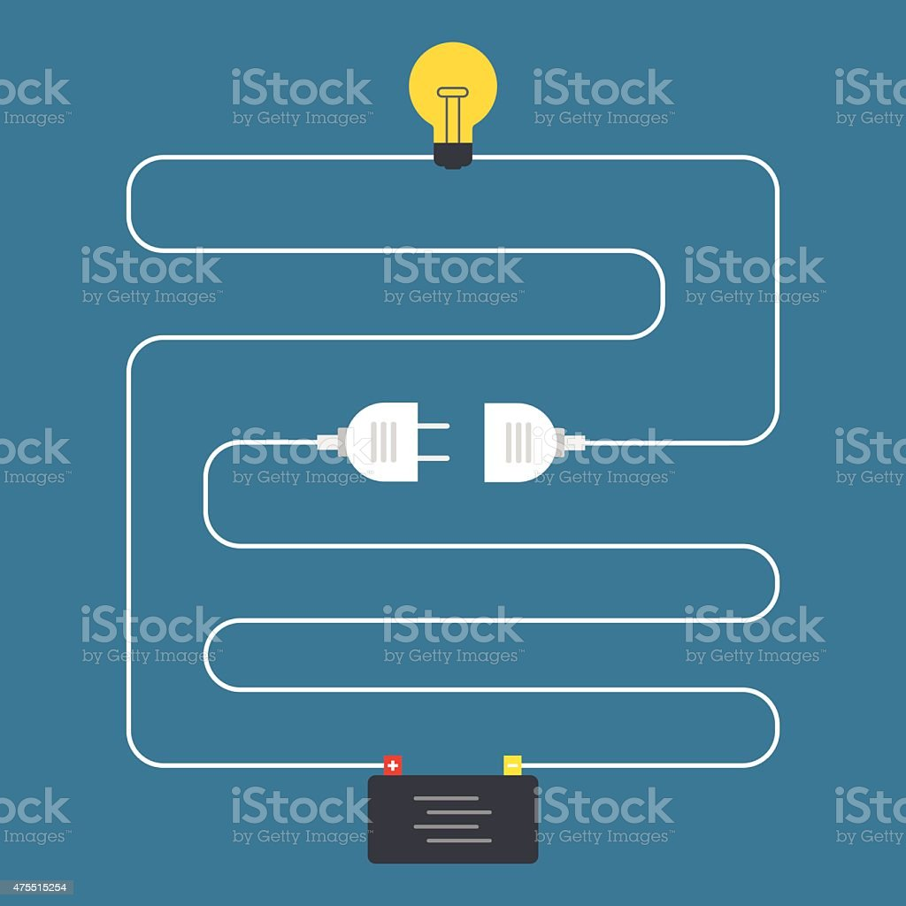 Circuit. Concept of plug connector. Flat design vector art illustration