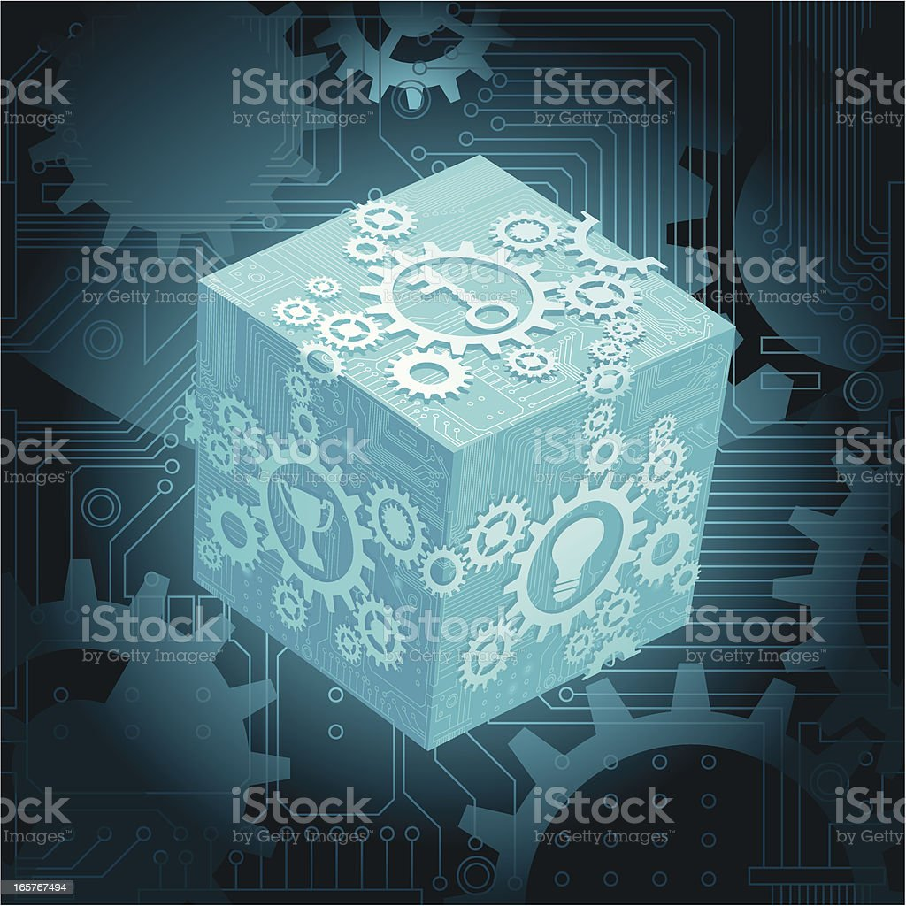 circuit cube with cogs royalty-free circuit cube with cogs stock vector art & more images of arts culture and entertainment