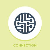 Curved Style Line Vector Icon for Connection.