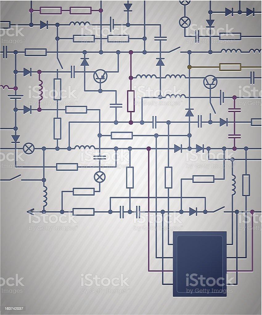 Circuit diagram vector art illustration