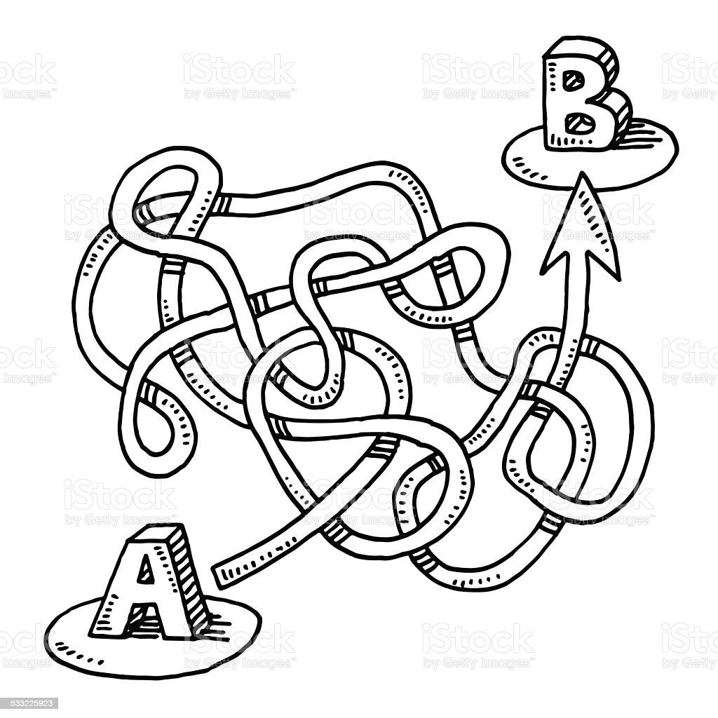 Circuito Ups : Circuitous route a to b arrow drawing stock vector art