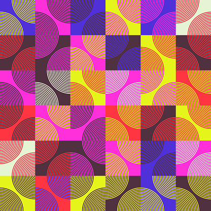 Seamless geometric pattern design artwork with simple geometrical forms. Circular geometric vector graphic with great color palette, useful for poster design, fabric print, wallpaper, wrapping paper.
