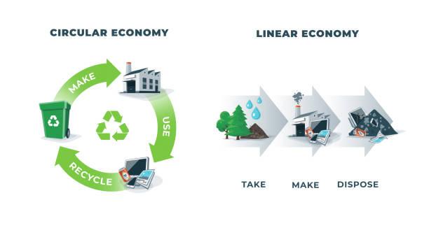 ilustrações de stock, clip art, desenhos animados e ícones de circular and linear economy compared - economia circular