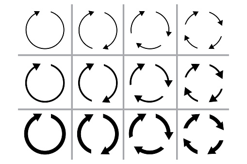 Circular arrow icon. Reset symbol. Reload and sync template. Movement sign. Vector illustration. Stock image.