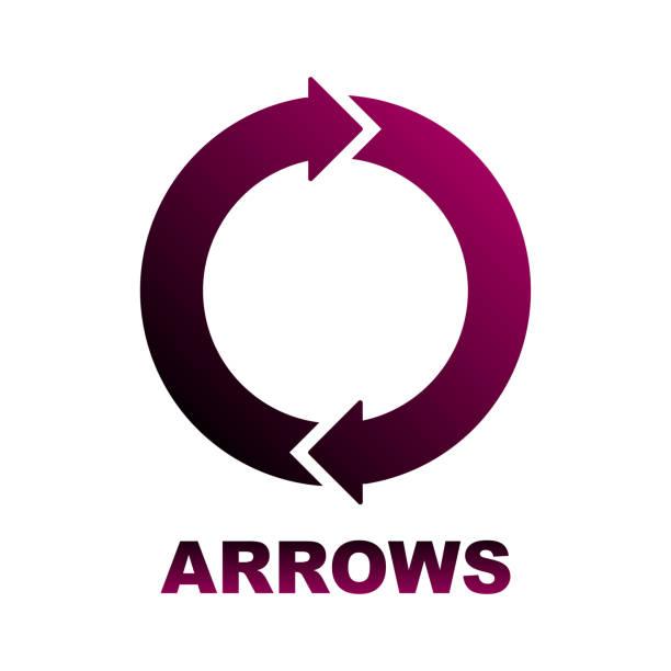 Circular arrows diagram. Two colored arrows vector art illustration