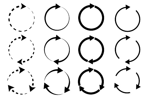 Circular arrows. Dotted circles with arrows. Repeat symbol. Reload infographics. Vector illustration. Stock image.