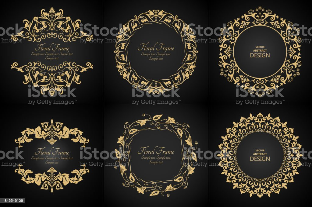 Circular baroque patterns vector art illustration