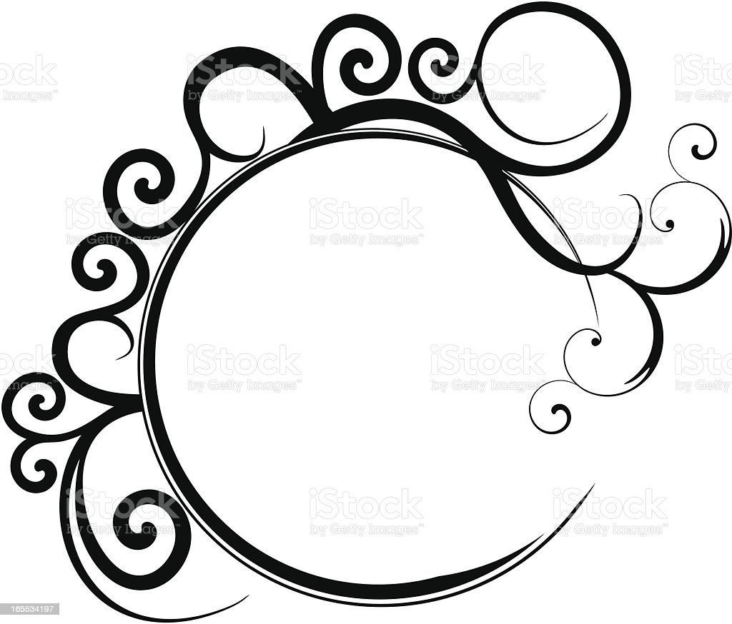 Circular Black Filigree Frame Stock Illustration - Download Image