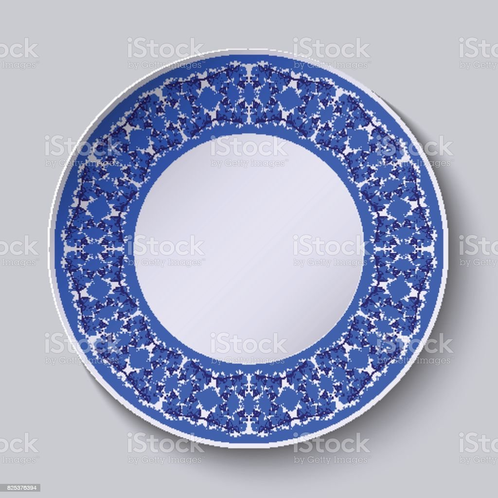 Circular blue flower pattern with empty space in the center white circular blue flower pattern with empty space in the center white porcelain plate with a mightylinksfo