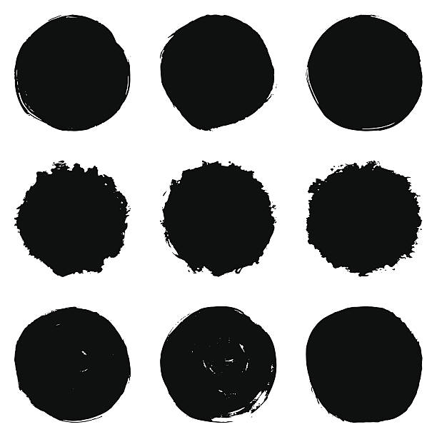 circular brush stroke set - pürüzlü stock illustrations