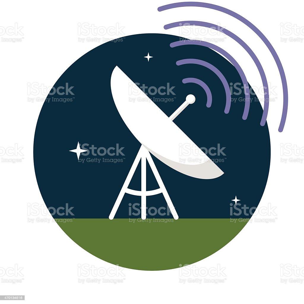 Circular cartoon image of large antenna against night sky vector art illustration
