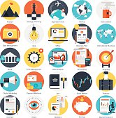 Vector collection of colorful flat business and finance icons. Design elements for mobile and web applications.