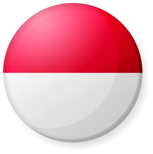 stockillustraties, clipart, cartoons en iconen met circulaire land vlagpictogram illustratie (knop badge)/indonesië - indonesische vlag