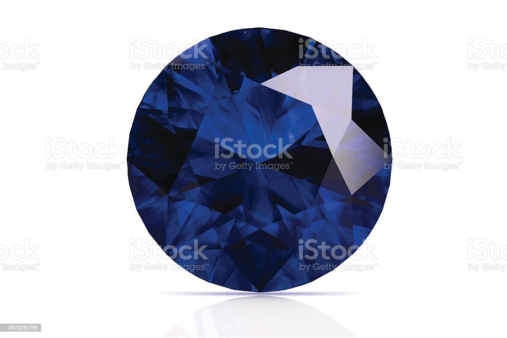 Circular cut blue sapphire on a white background vector art illustration