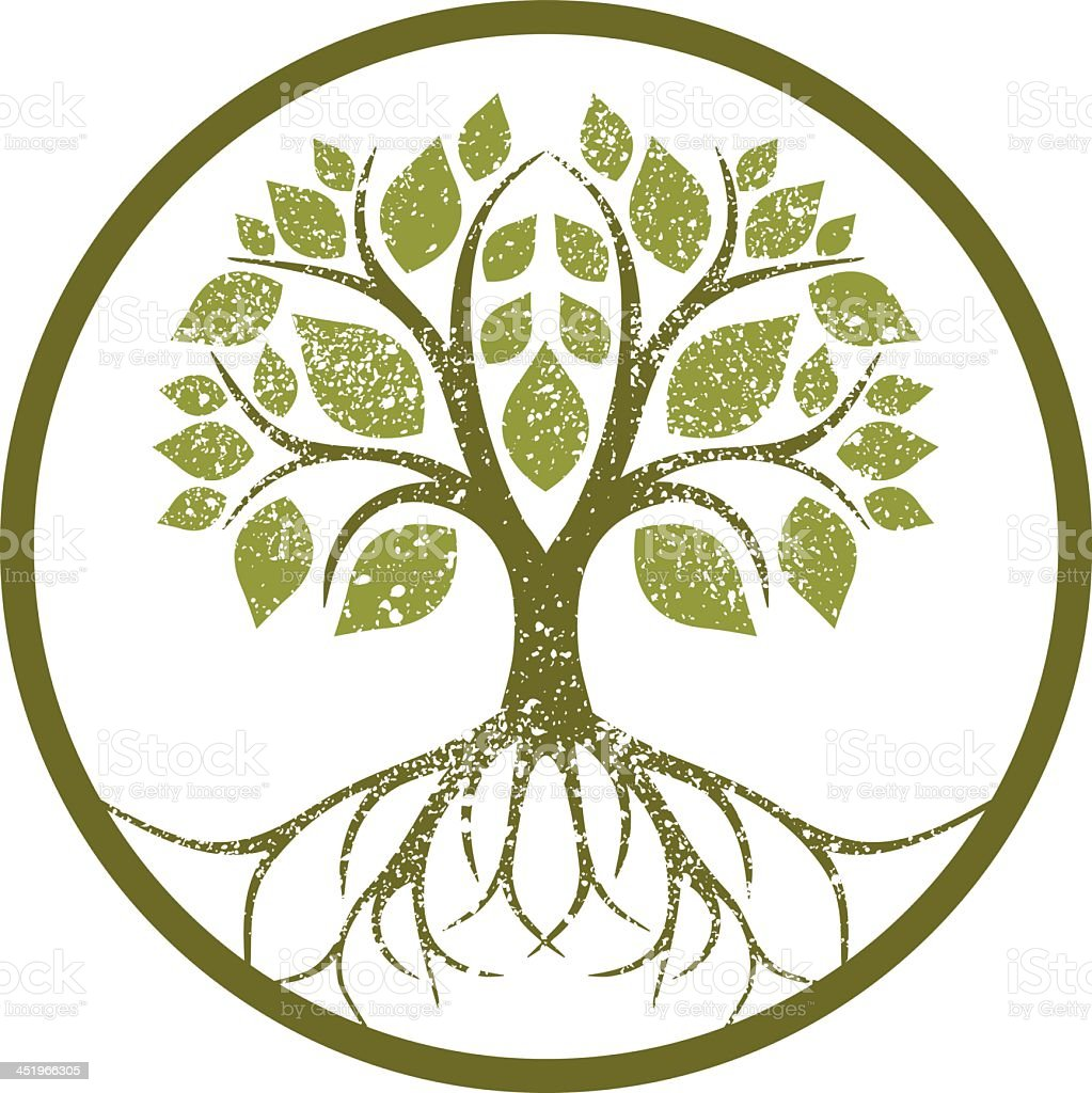 Circular design containing a tree vector art illustration