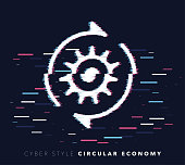 Glitch effect vector icon illustration of circular economy with abstract background.