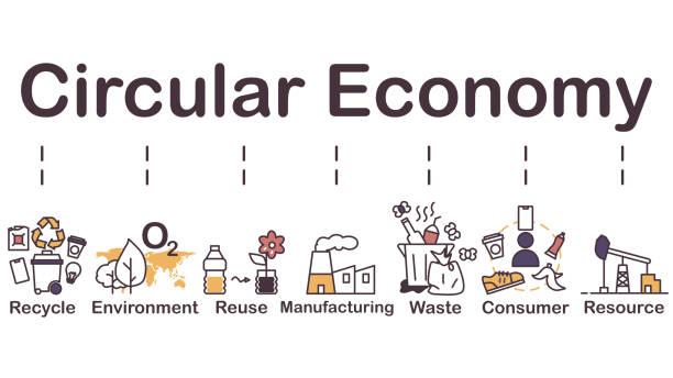 ilustrações de stock, clip art, desenhos animados e ícones de circular economy icon - economia circular