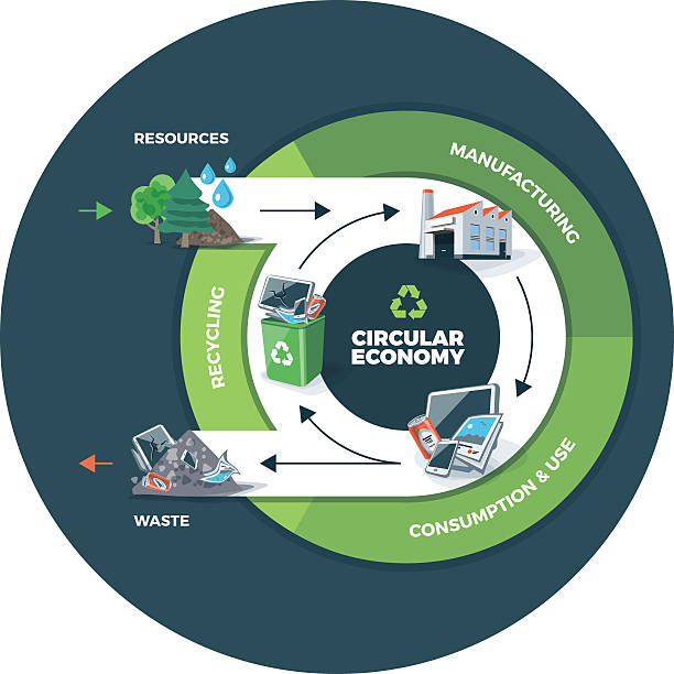 ilustrações de stock, clip art, desenhos animados e ícones de circular ilustração de círculo de fundo da economia - economia circular