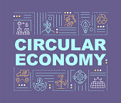 Circular economy model word concepts banner. Alternative energy generation. Infographics with linear icons on purple background. Isolated typography. Vector outline RGB color illustration