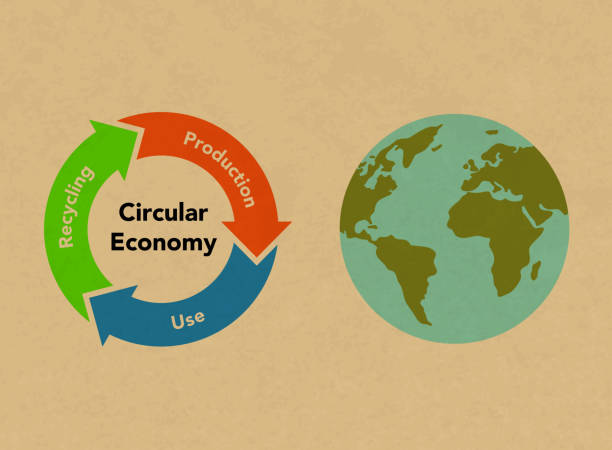 ilustrações de stock, clip art, desenhos animados e ícones de circular economy recycling figures and earth, kraft paper texture background - economia circular