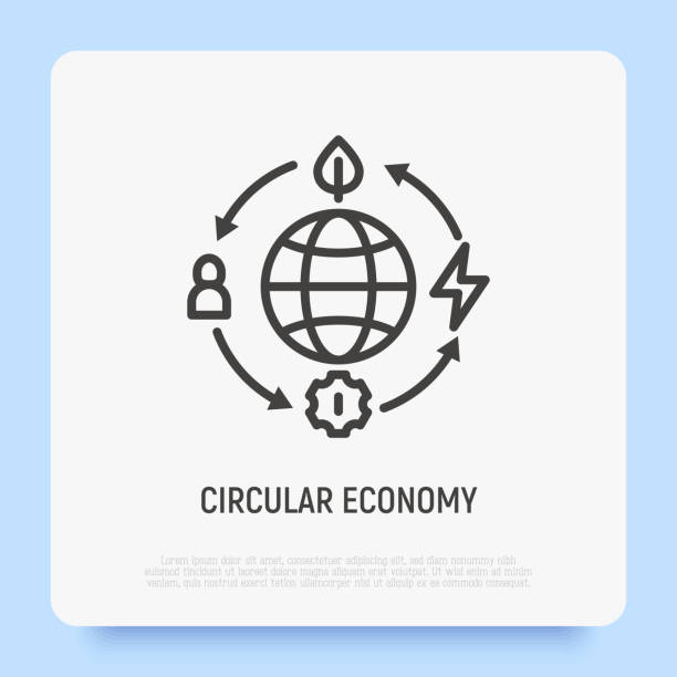 ilustrações de stock, clip art, desenhos animados e ícones de circular economy thin line icon. reusing and recycling of resources. green economy. vector illustration. - economia circular