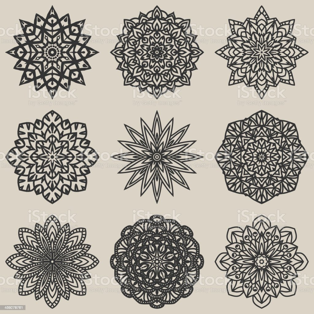 circular floral pattern set royalty-free circular floral pattern set stock vector art & more images of abstract