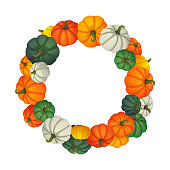 Circular frame. Multicolored pumpkins different size and shape isolated on white background. Harvest, thanksgiving, halloween, autumn vector design.