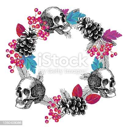 circular frame of skull cone rowanberry leaves