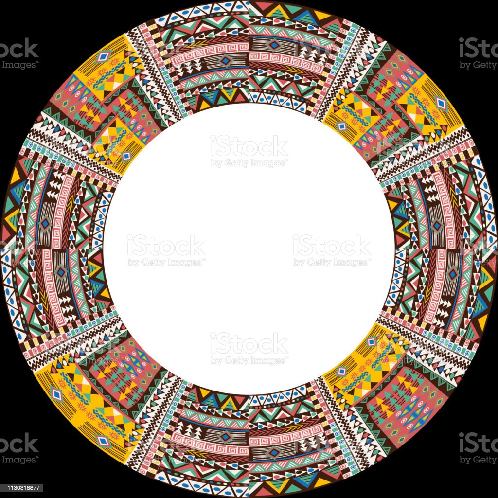 Circular frame with african ethnic motifs and place for text