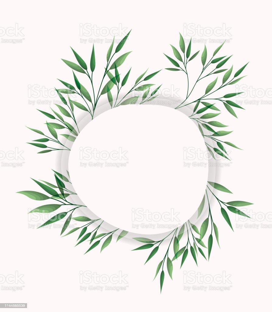 circular frame with laurel leafs vector illustration design