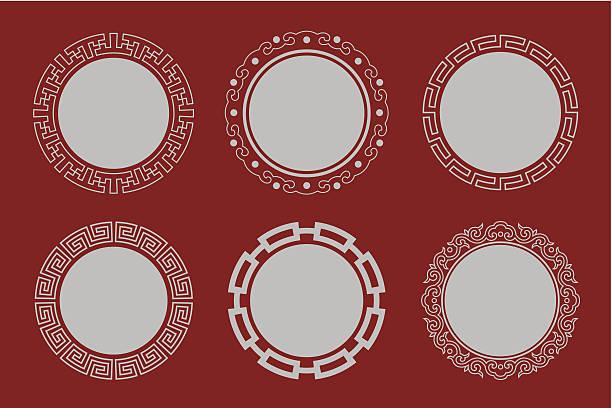 stockillustraties, clipart, cartoons en iconen met circular frames of chinese style - chinese cultuur