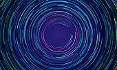 Circular geometric vortex blue and purple neon light motion vector background