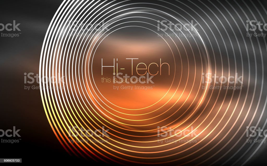 Circular Glowing Neon Shapes Techno Background Abstract Shiny Transparent  Circles On Dark Technology Space Stock Illustration - Download Image Now