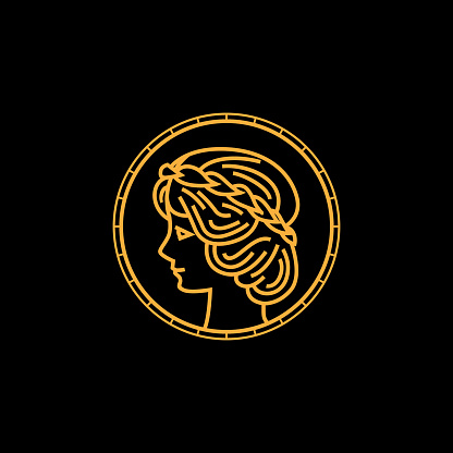 circular greek goddess statue icon