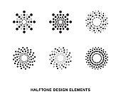 Abstract circular halftone dots forms. Vector illustration.
