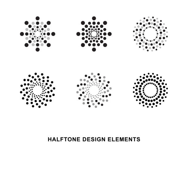 circular halftone dots forms - spiral stock illustrations