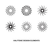 Abstract circular halftone dots forms. Vector illustration.