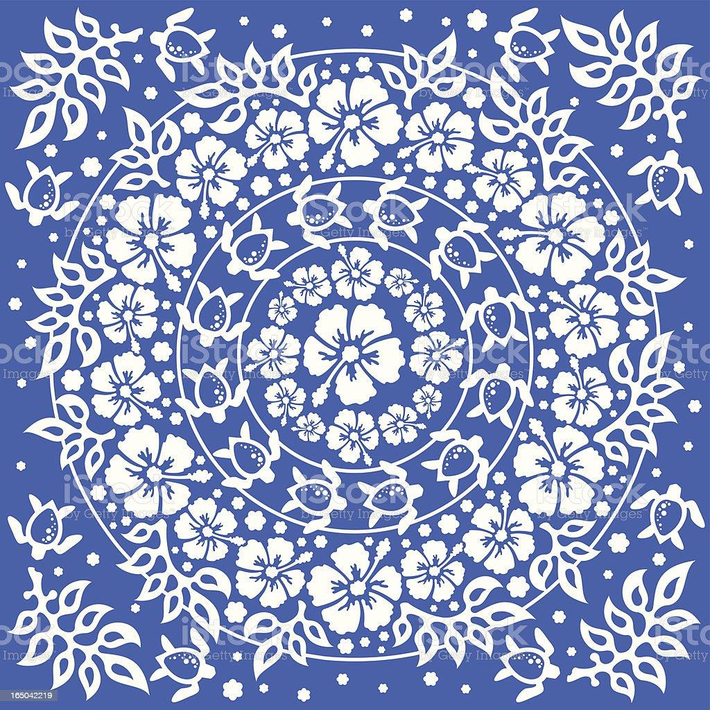 Circular Hawaiian floral pattern (Vector) vector art illustration