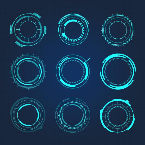 HUD Circular Hi-Tech Futuristic User Interface Vector Illustration HUD Circular Hi-Tech Futuristic User Interface Vector Illustration collection stock illustrations