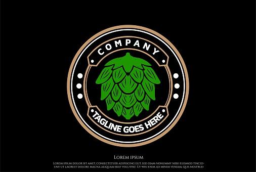Circular Hop for Craft Beer Brewing Brewery Badge Label Seal Sticker Logo Design Vector