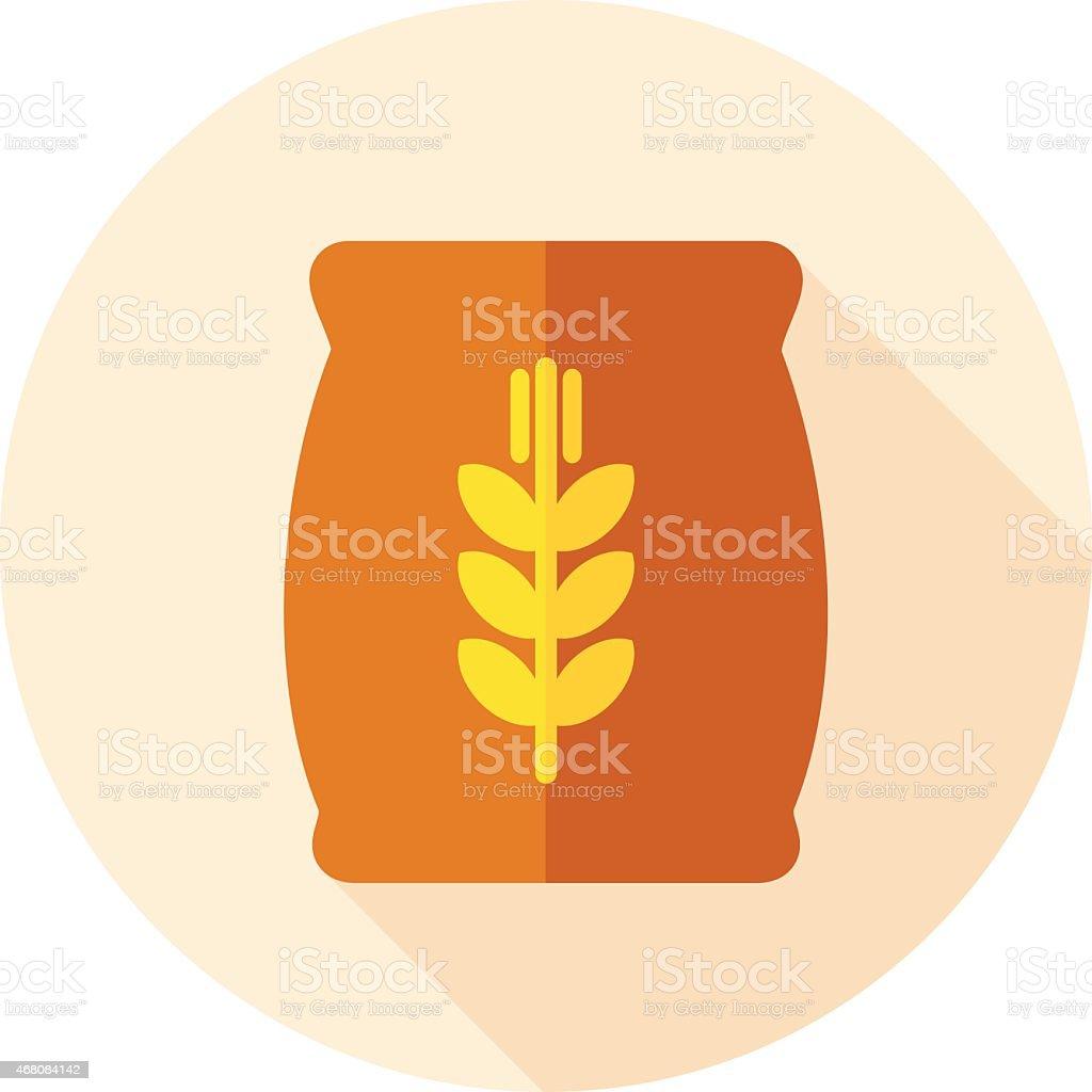 Circular icon of a sack of wheat vector art illustration