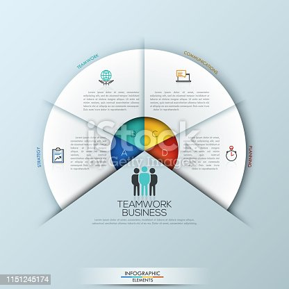 Circular infographic design template with 4 sectoral elements connected with center. Successful teamwork and project management concept. Vector illustration for website, presentation, brochure.