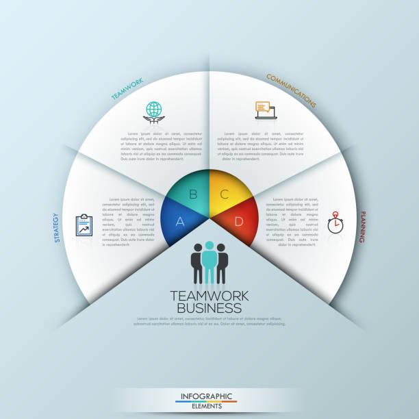 Circular infographic design template with 4 sectoral elements Circular infographic design template with 4 sectoral elements connected with center. Successful teamwork and project management concept. Vector illustration for website, presentation, brochure. number 4 stock illustrations