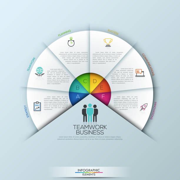 illustrazioni stock, clip art, cartoni animati e icone di tendenza di circular infographic design template with 6 sectoral elements - oggetto creato dall'uomo