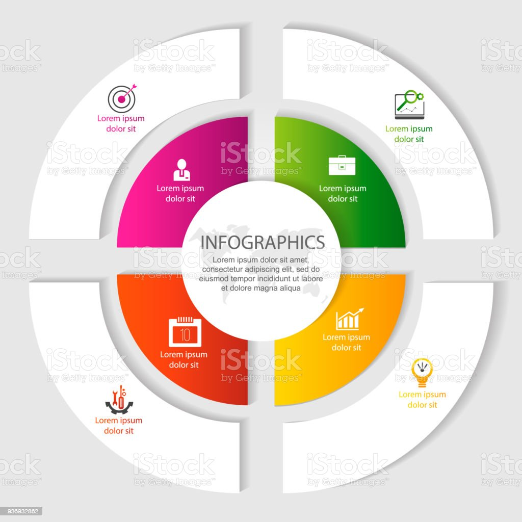 Circular Infographics Of 4 Steps Segments For Annual Reports Charts