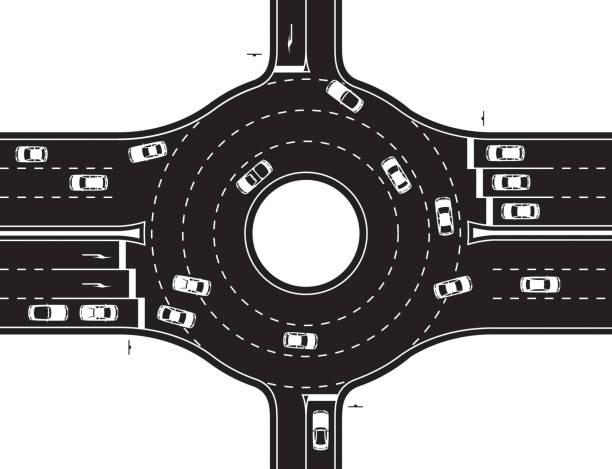 illustrations, cliparts, dessins animés et icônes de jonction circulaire de l'autoroute et de la route - rond point