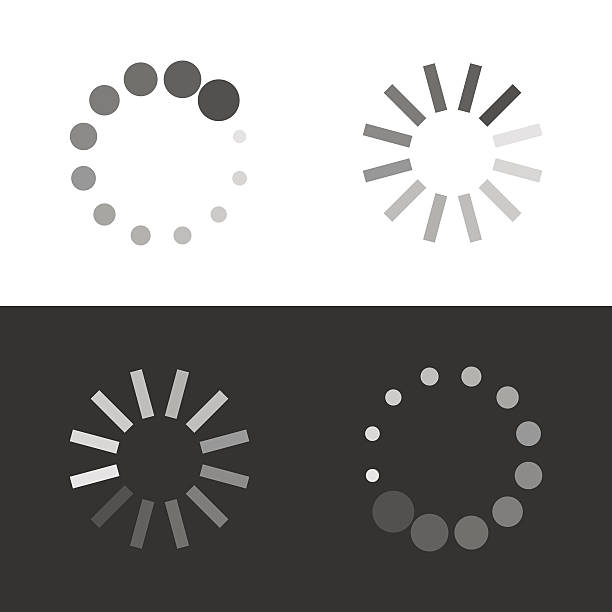 Circular loading sign Circular loading sign. Collection icons of modern preloaders. Vector illustration isolated on white and black background waiting stock illustrations