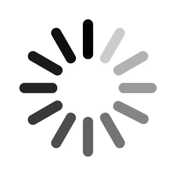ilustrações, clipart, desenhos animados e ícones de sinal de carregamento circular, símbolo de espera, ícone preto, isolado no fundo branco. ilustração em vetor. - esperar