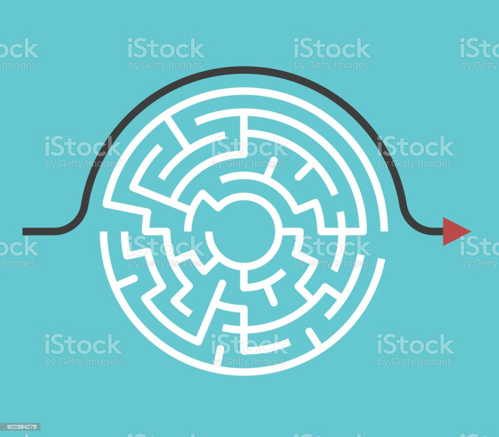 Circular maze, bypass route royalty-free circular maze bypass route stock illustration - download image now